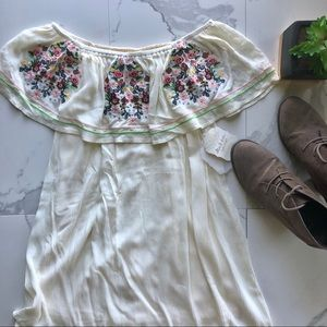 Altar'd State Off Shoulder White Embroidered Dress
